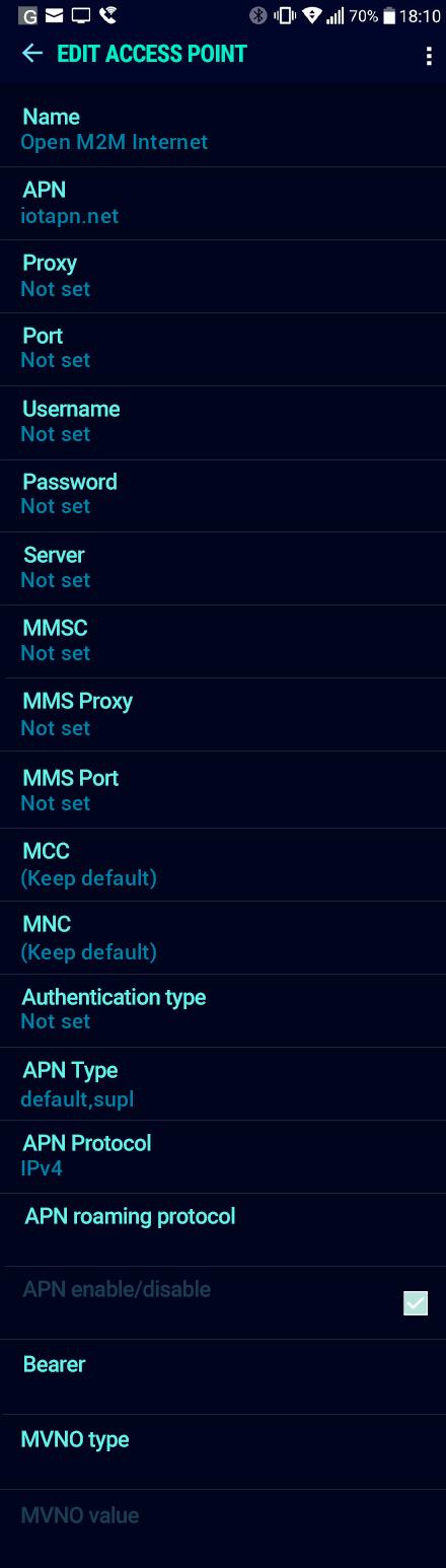 Open M2M Internet APN settings for Android Nougat screenshot