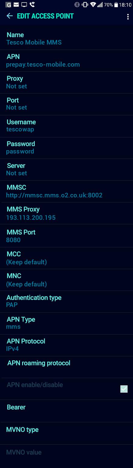 Tesco Mobile MMS APN settings for Android Nougat screenshot