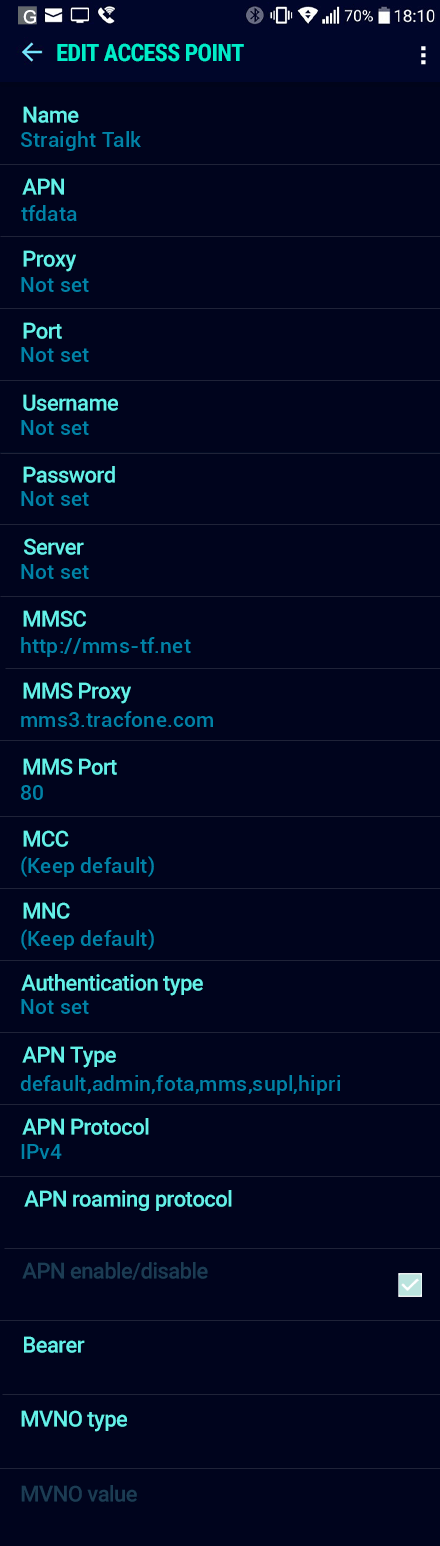 Straight Talk  APN settings for Android Nougat screenshot