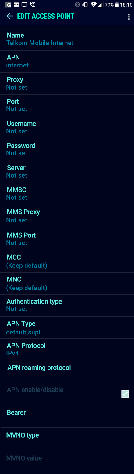 Telkom Mobile Internet APN settings for Android Nougat screenshot