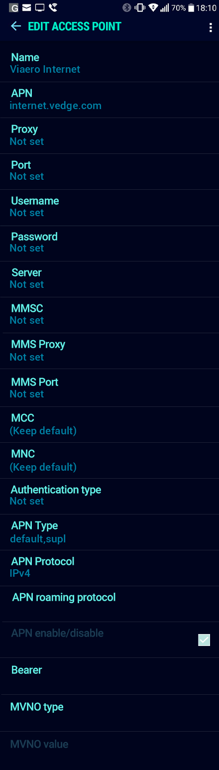 Viaero Internet APN settings for Android Nougat screenshot