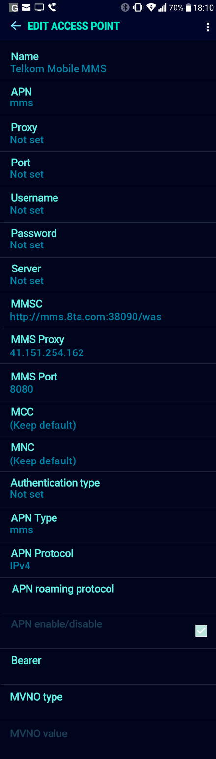 Telkom Mobile MMS APN settings for Android Nougat screenshot