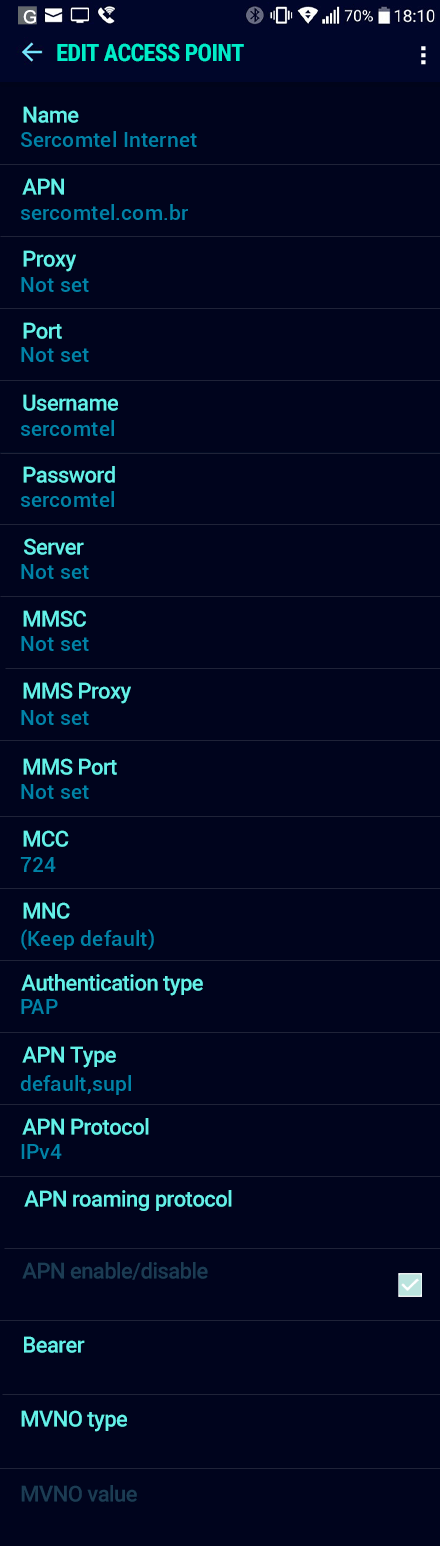 Sercomtel Internet APN settings for Android Nougat screenshot