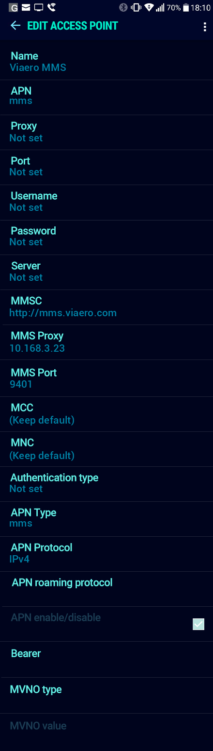 Viaero MMS APN settings for Android Nougat screenshot