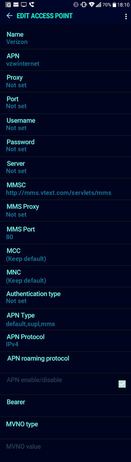 Verizon  APN settings for Android Nougat screenshot