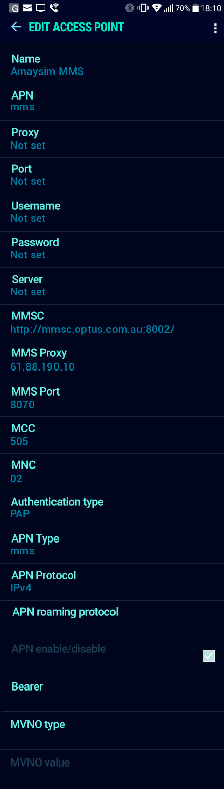 Amaysim MMS APN settings for Android Nougat screenshot