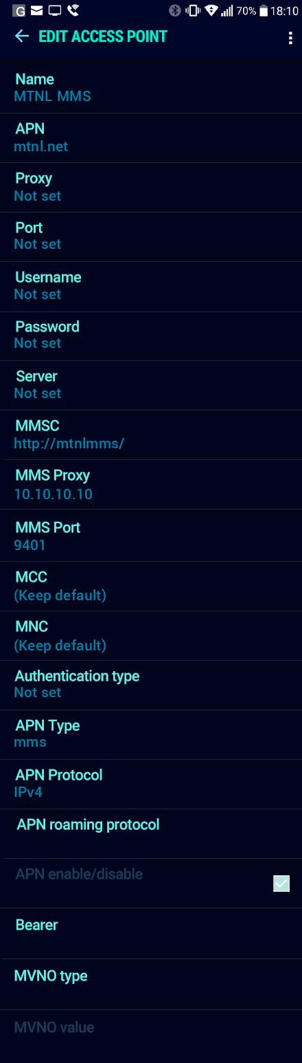 MTNL MMS APN settings for Android Nougat screenshot