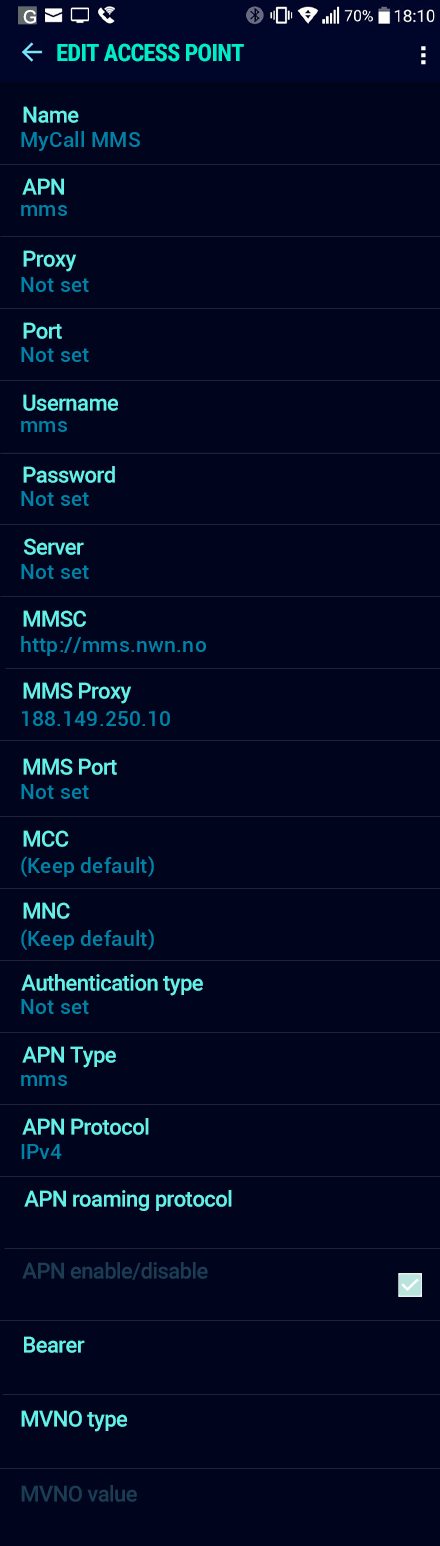 MyCall MMS APN settings for Android Nougat screenshot