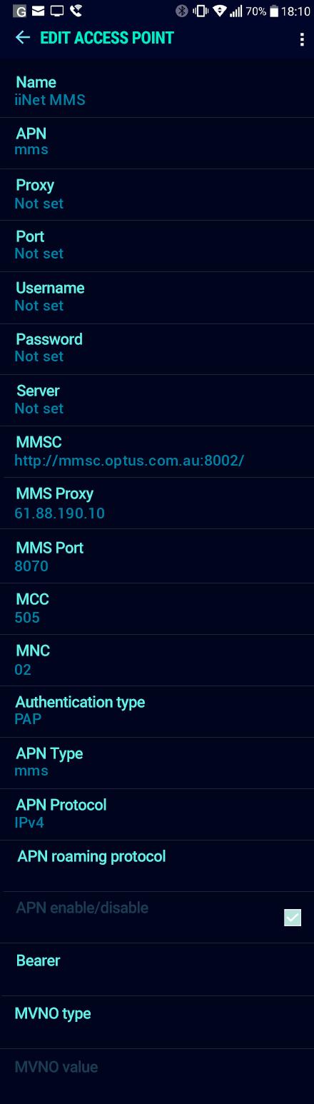 iiNet MMS APN settings for Android Nougat screenshot