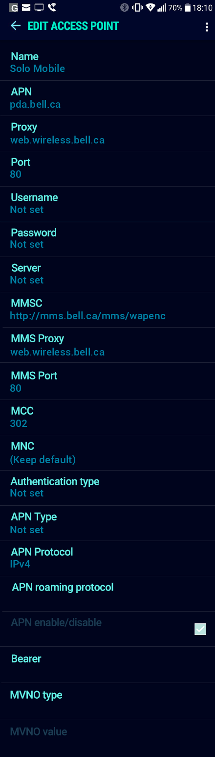 Solo Mobile  APN settings for Android Nougat screenshot