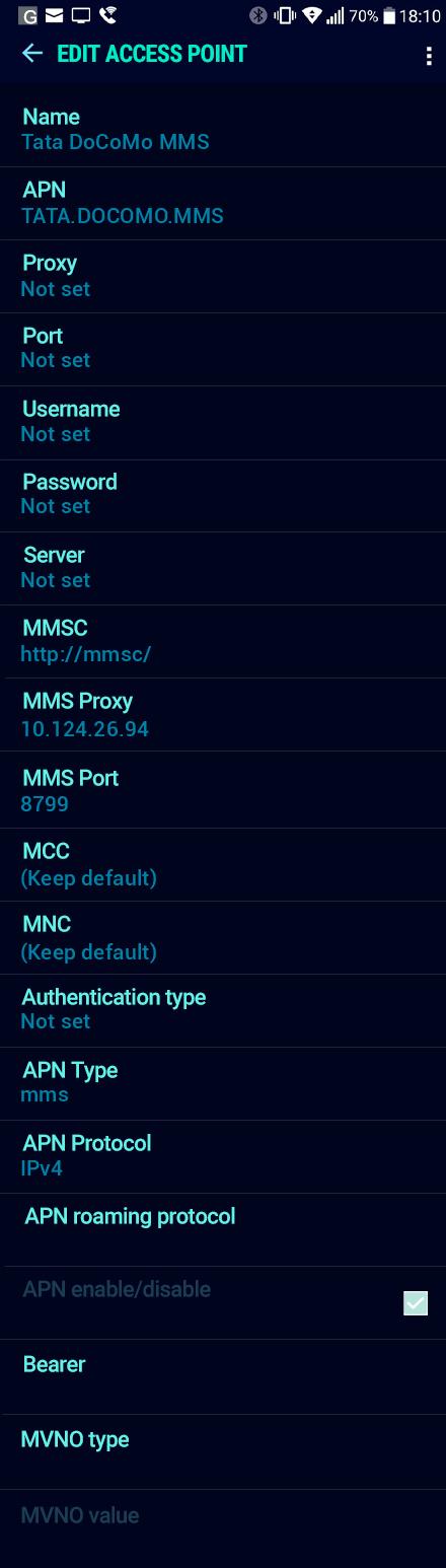 Tata DoCoMo MMS APN settings for Android Nougat screenshot