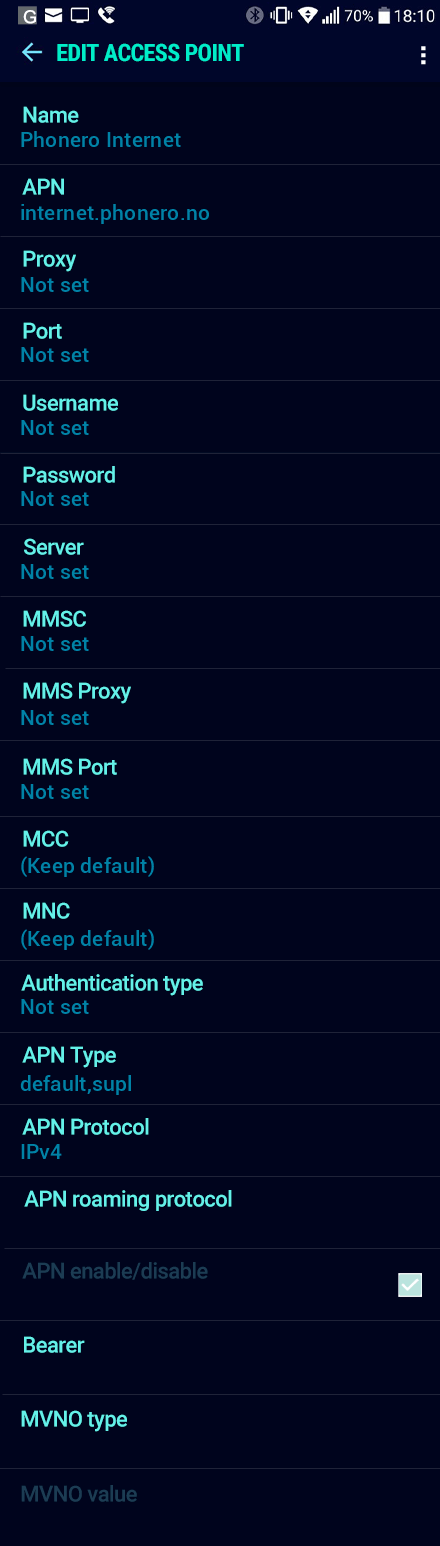 Phonero Internet APN settings for Android Nougat screenshot