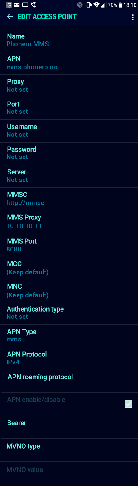 Phonero MMS APN settings for Android Nougat screenshot