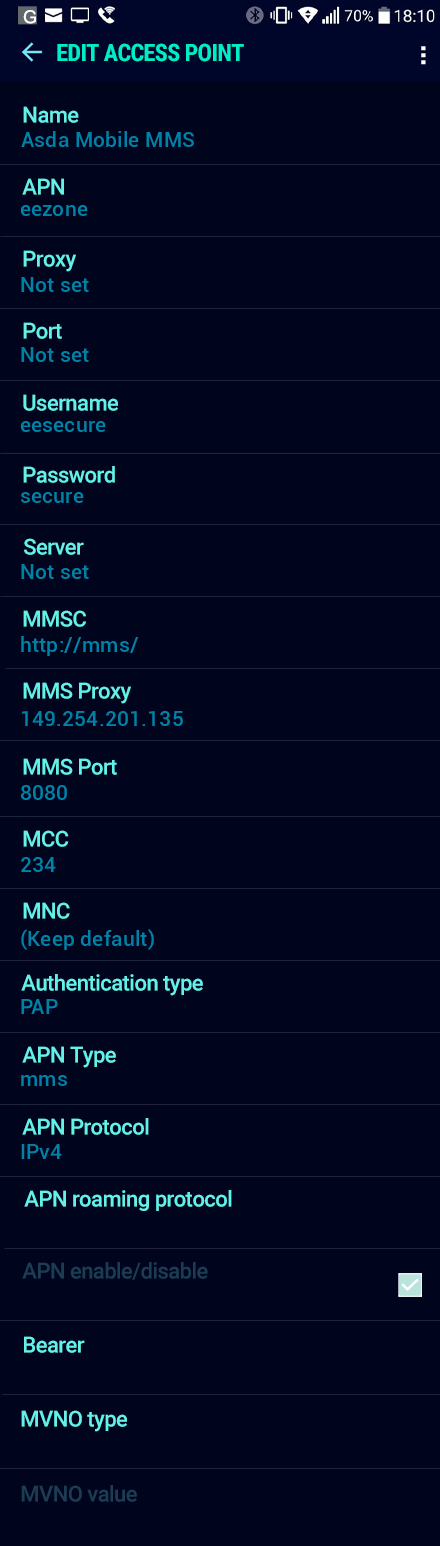 Asda Mobile MMS APN settings for Android Nougat screenshot