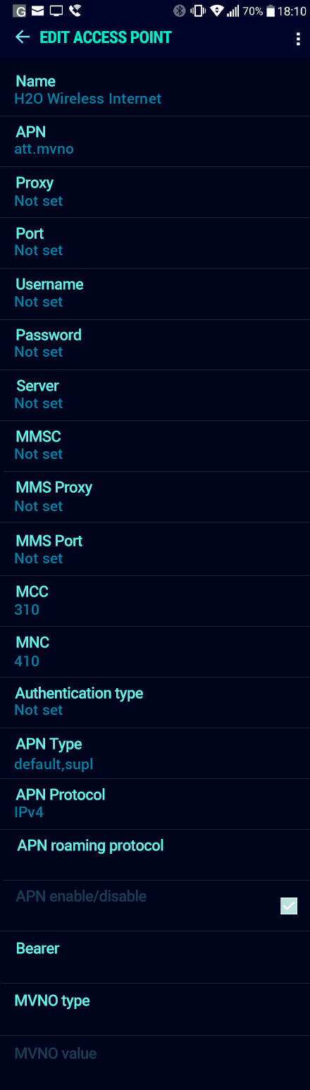 H2O Wireless Internet APN settings for Android Nougat screenshot