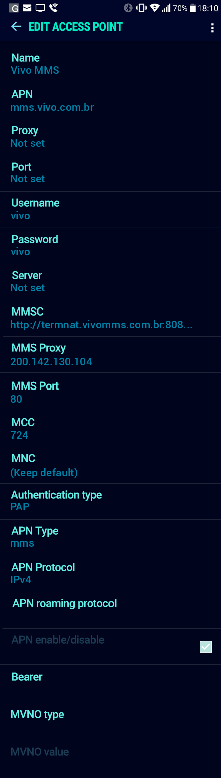 Vivo MMS APN settings for Android Nougat screenshot