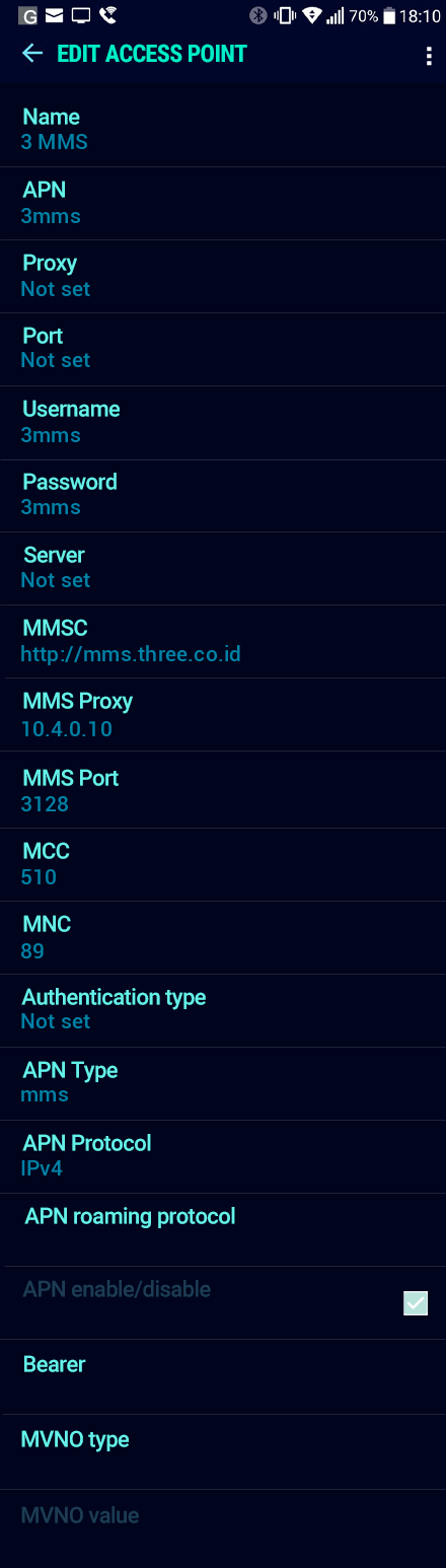 3 MMS APN settings for Android Nougat screenshot
