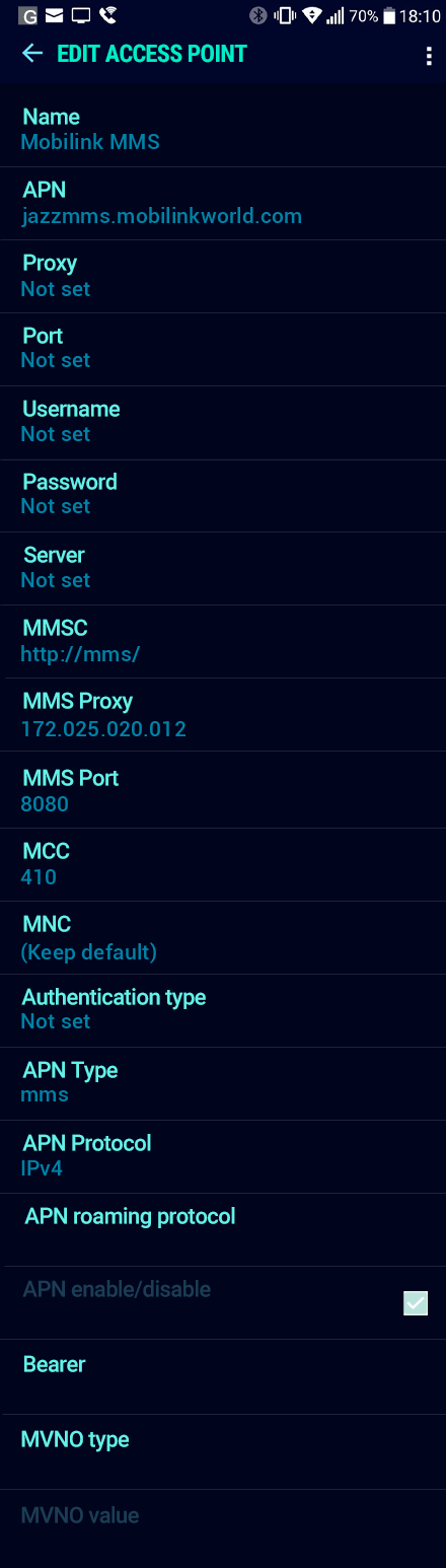 Mobilink MMS APN settings for Android Nougat screenshot