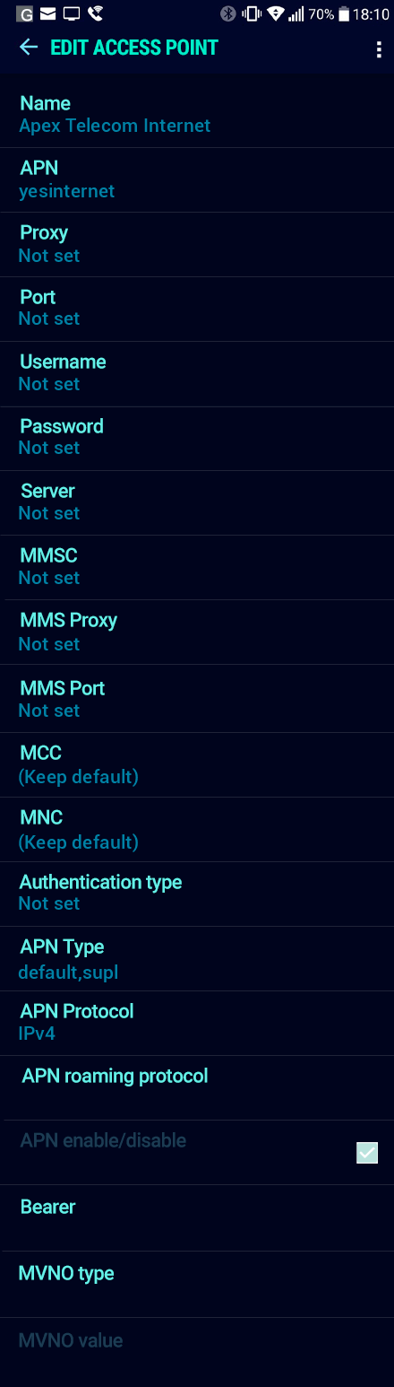 Apex Telecom Internet APN settings for Android Nougat screenshot