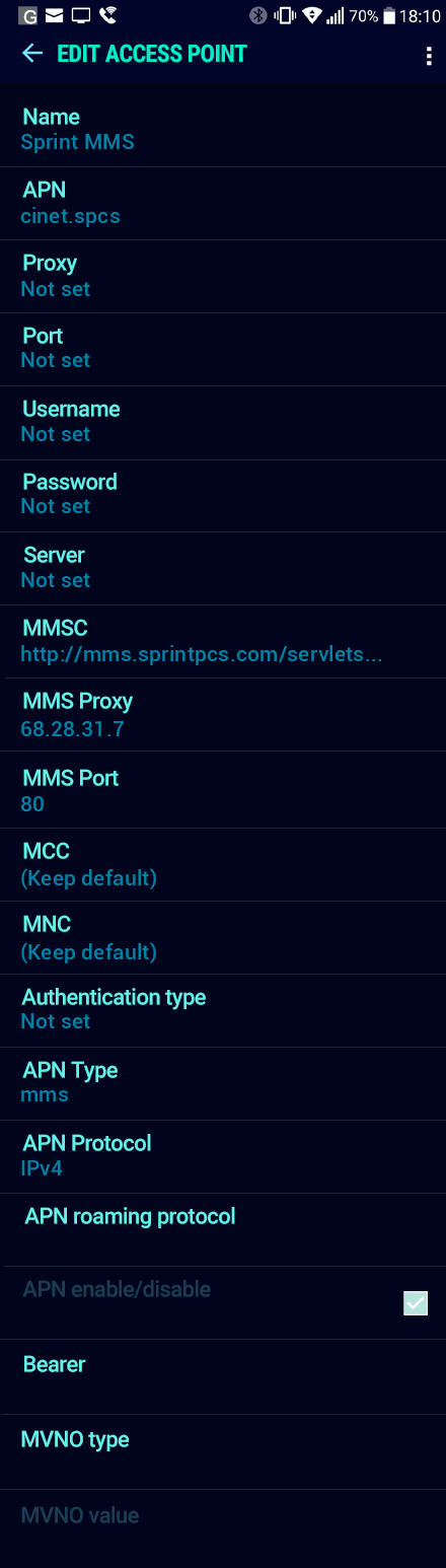 Sprint MMS APN settings for Android Nougat screenshot