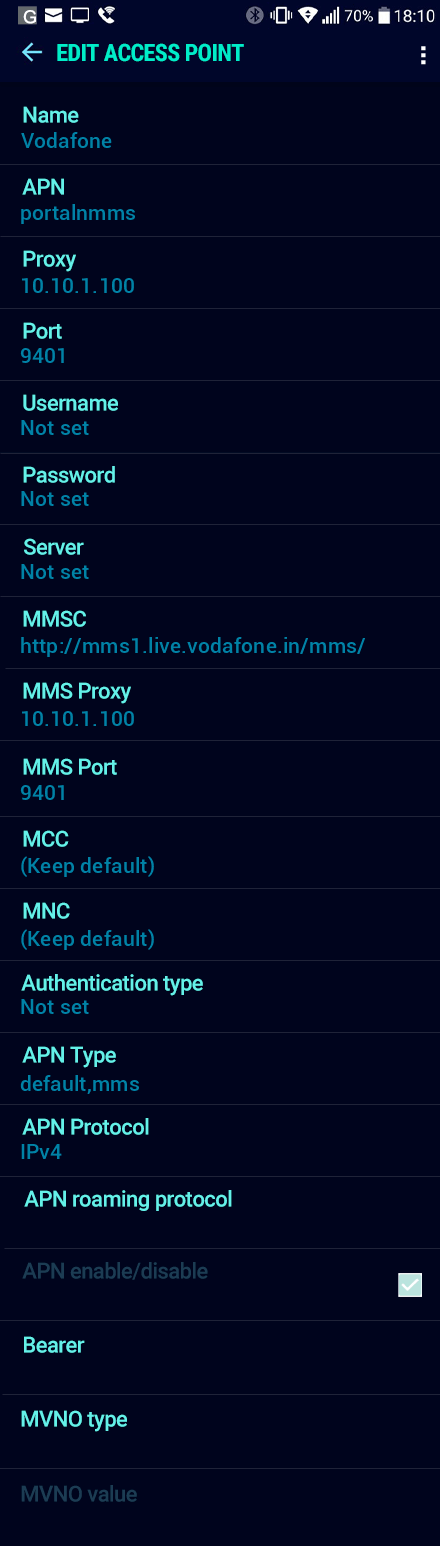 Vodafone  APN settings for Android Nougat screenshot