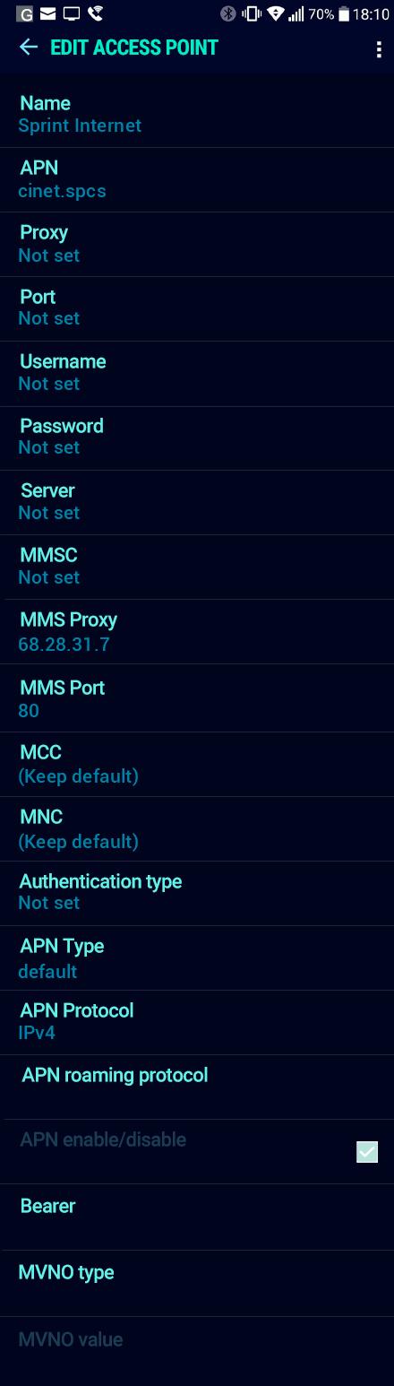 Sprint Internet APN settings for Android Nougat screenshot