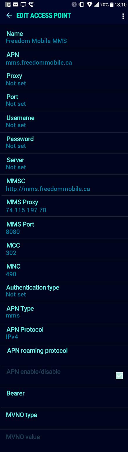 Freedom Mobile MMS APN settings for Android Nougat screenshot