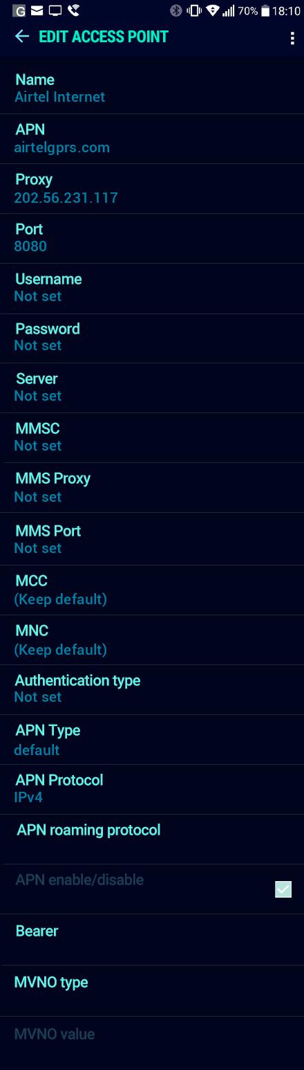 Airtel Internet APN settings for Android Nougat screenshot