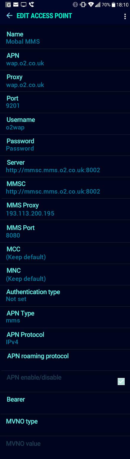 Mobal MMS APN settings for Android Nougat screenshot
