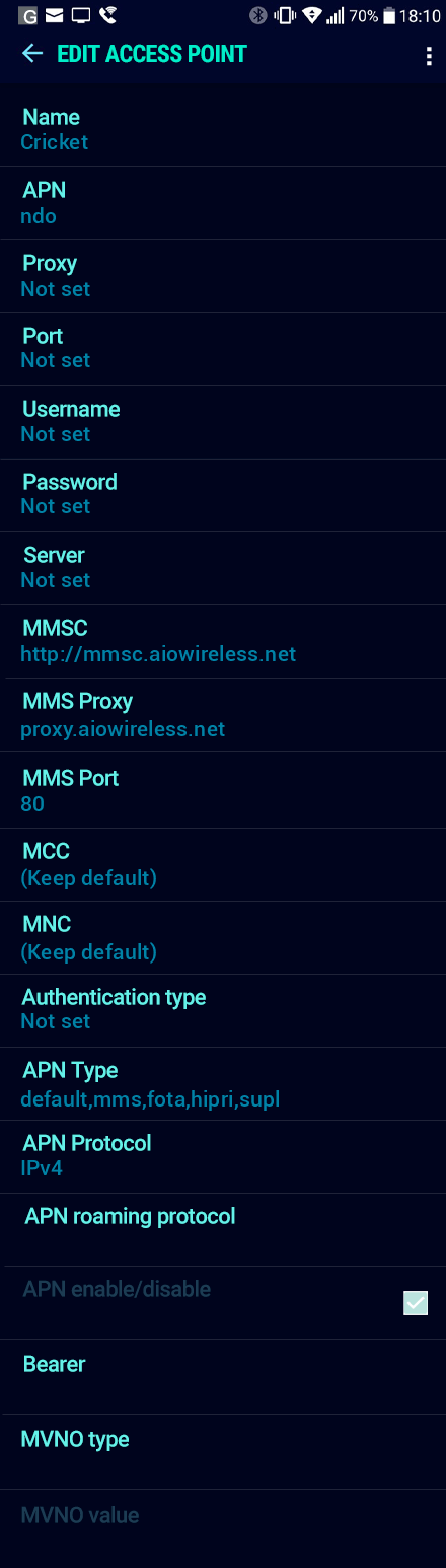 Cricket  APN settings for Android Nougat screenshot
