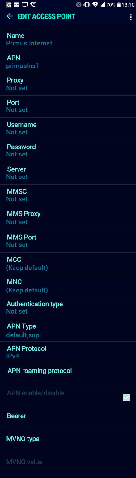 Primus Internet APN settings for Android Nougat screenshot
