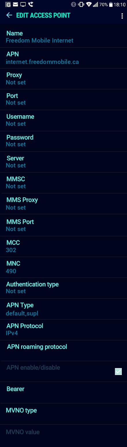 Freedom Mobile Internet APN settings for Android Nougat screenshot