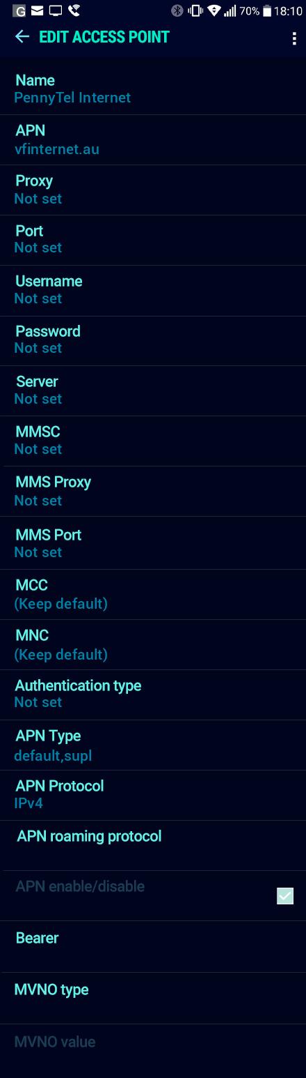 PennyTel Internet APN settings for Android Nougat screenshot