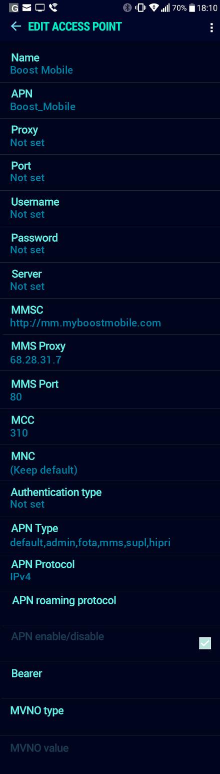 Boost Mobile  APN settings for Android Nougat screenshot