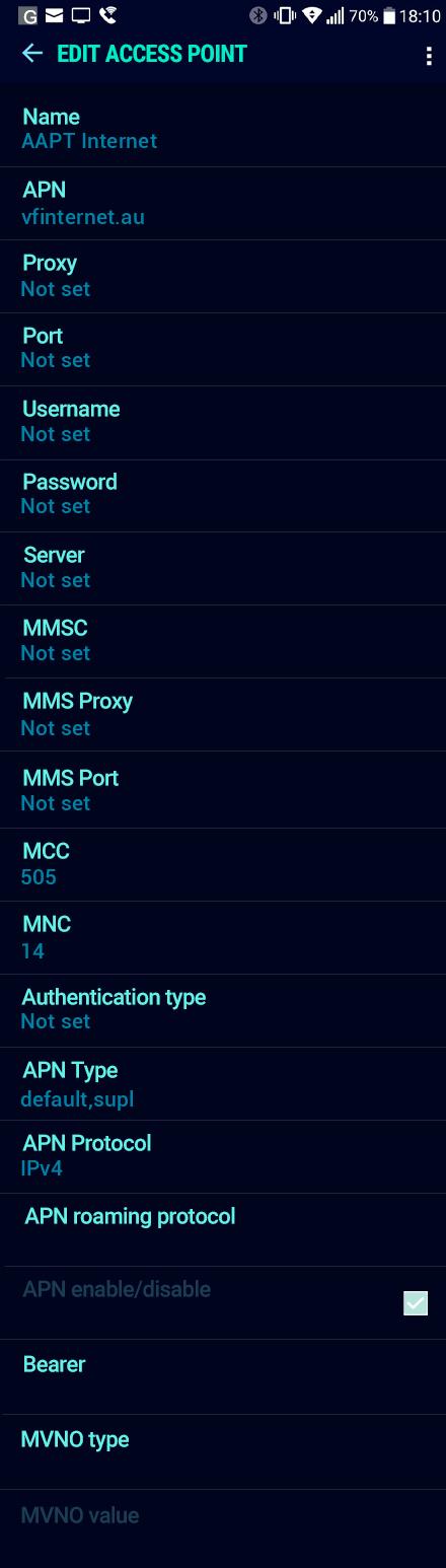 AAPT Internet APN settings for Android Nougat screenshot