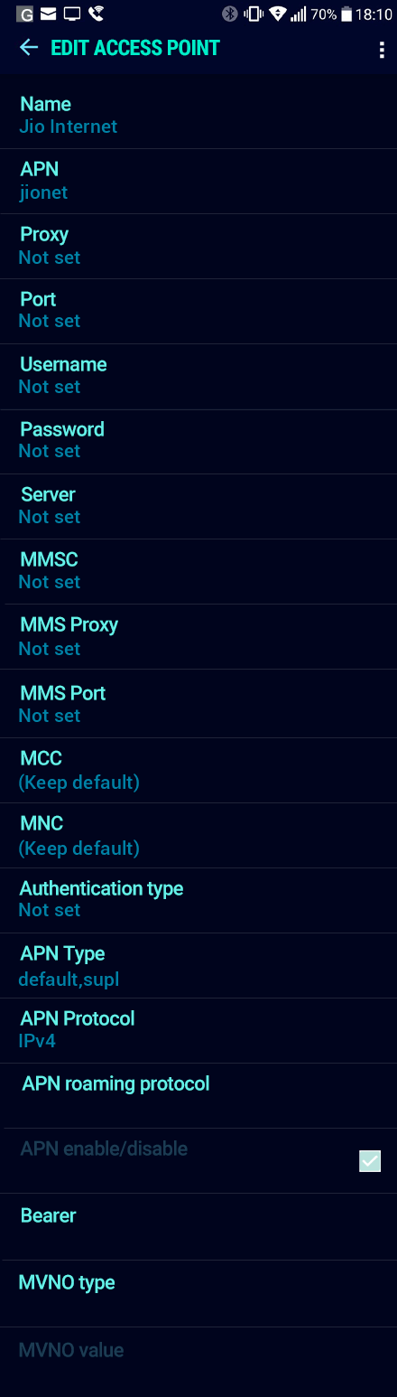 Jio Internet APN settings for Android Nougat screenshot