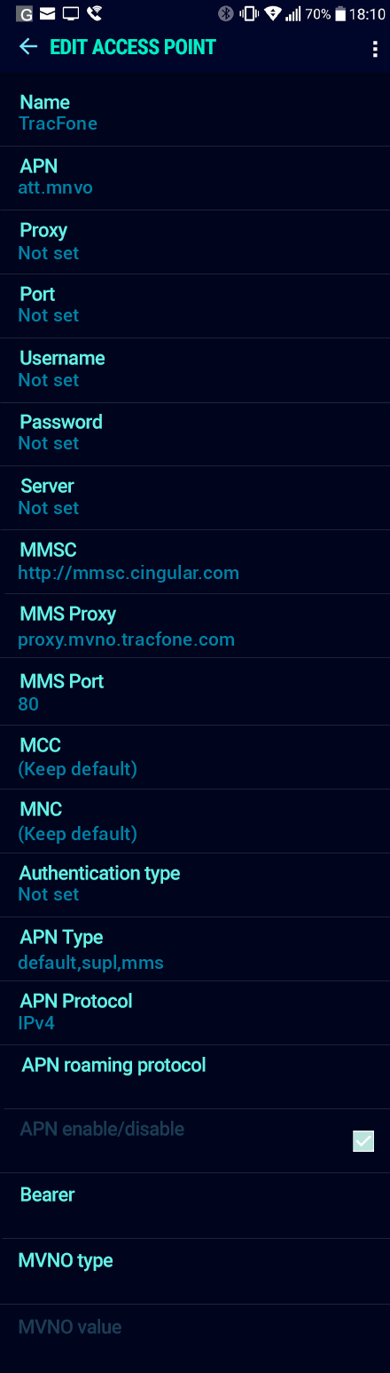 TracFone  APN settings for Android Nougat screenshot