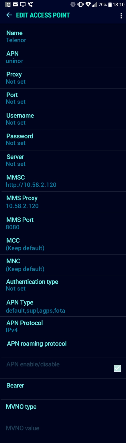 Telenor  APN settings for Android Nougat screenshot