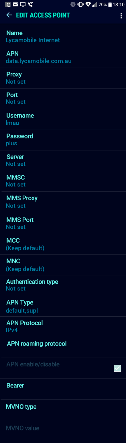 Lycamobile Internet APN settings for Android Nougat screenshot