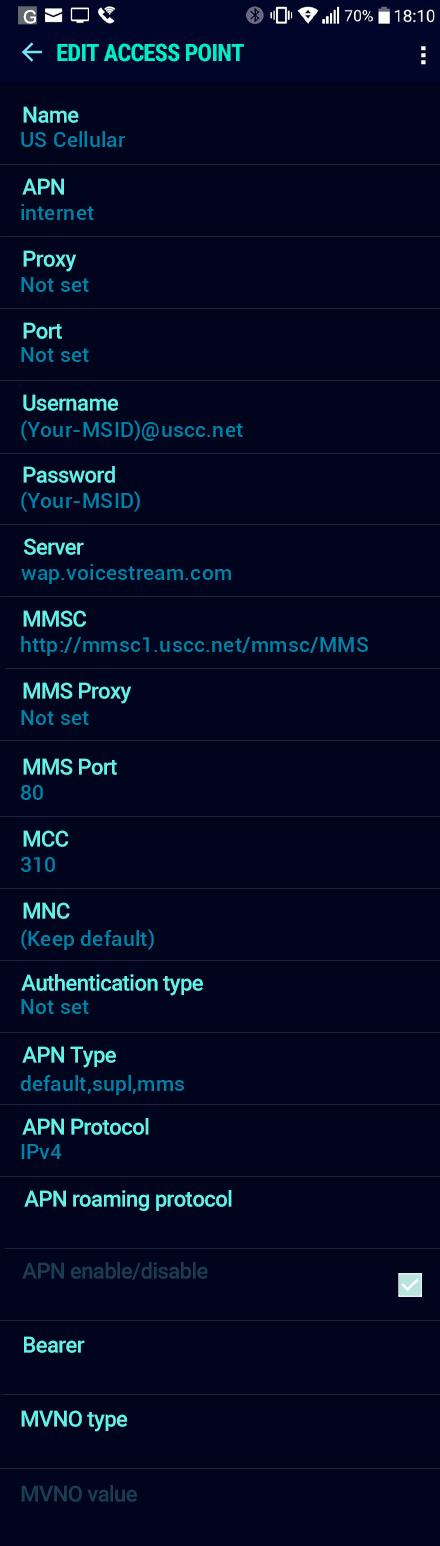 US Cellular  APN settings for Android Nougat screenshot
