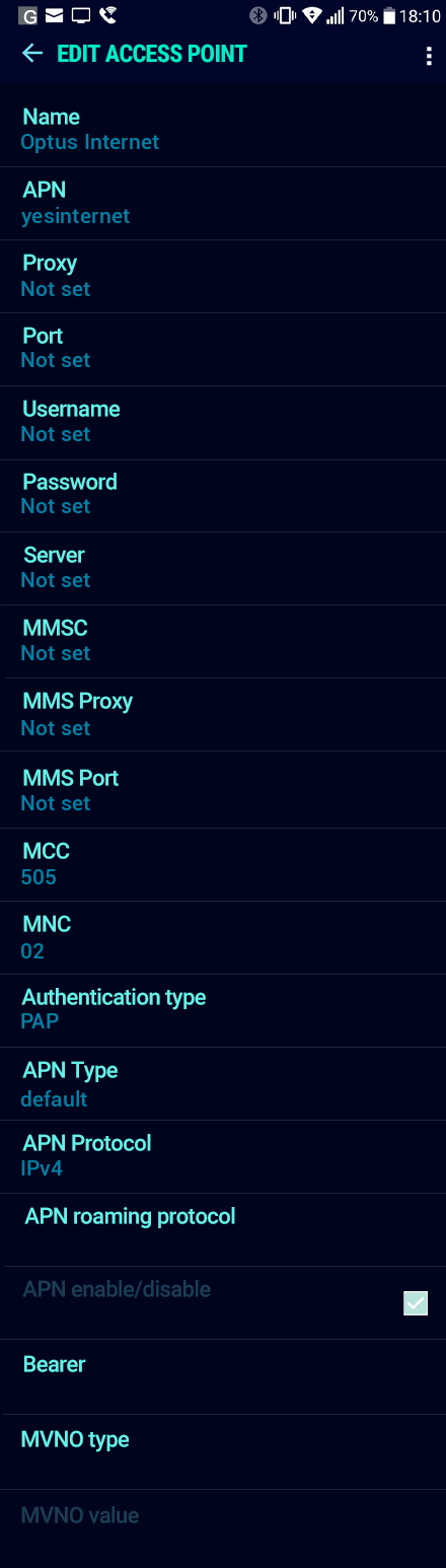 Optus Internet APN settings for Android Nougat screenshot