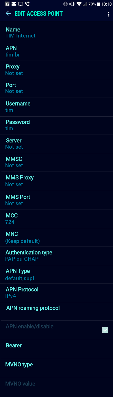 TIM Internet APN settings for Android Nougat screenshot