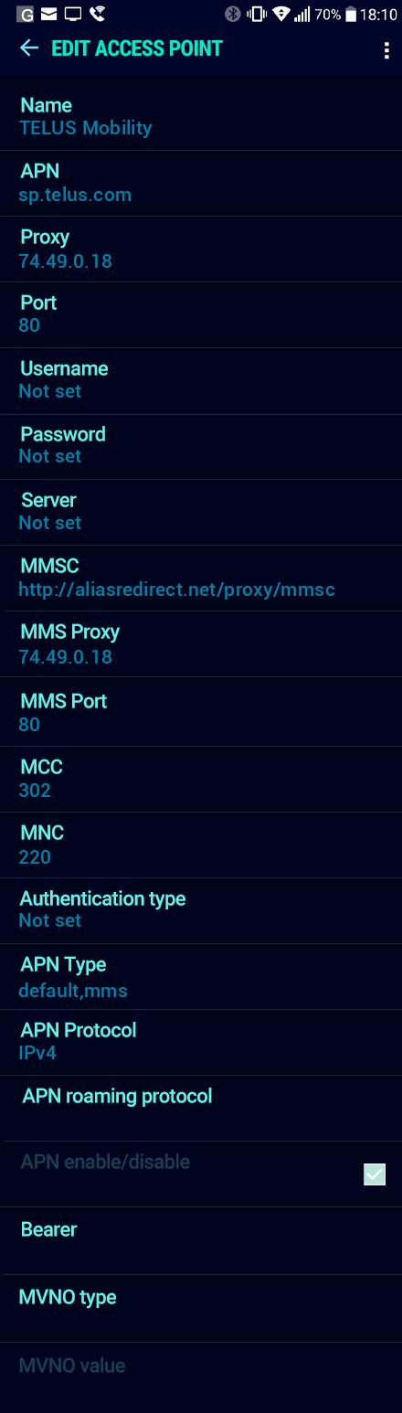 TELUS Mobility  APN settings for Android Nougat screenshot