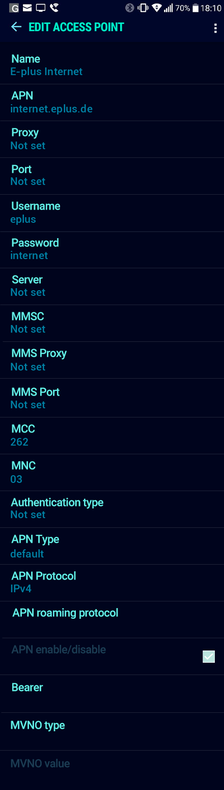 E-plus Internet APN settings for Android Nougat screenshot