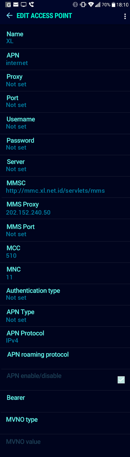 XL  APN settings for Android Nougat screenshot