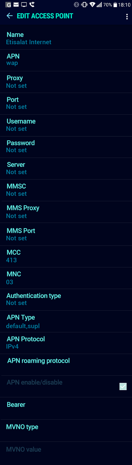 Etisalat Internet APN settings for Android Nougat screenshot
