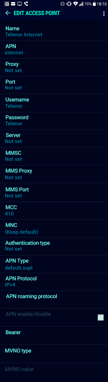 Telenor Internet APN settings for Android Nougat screenshot