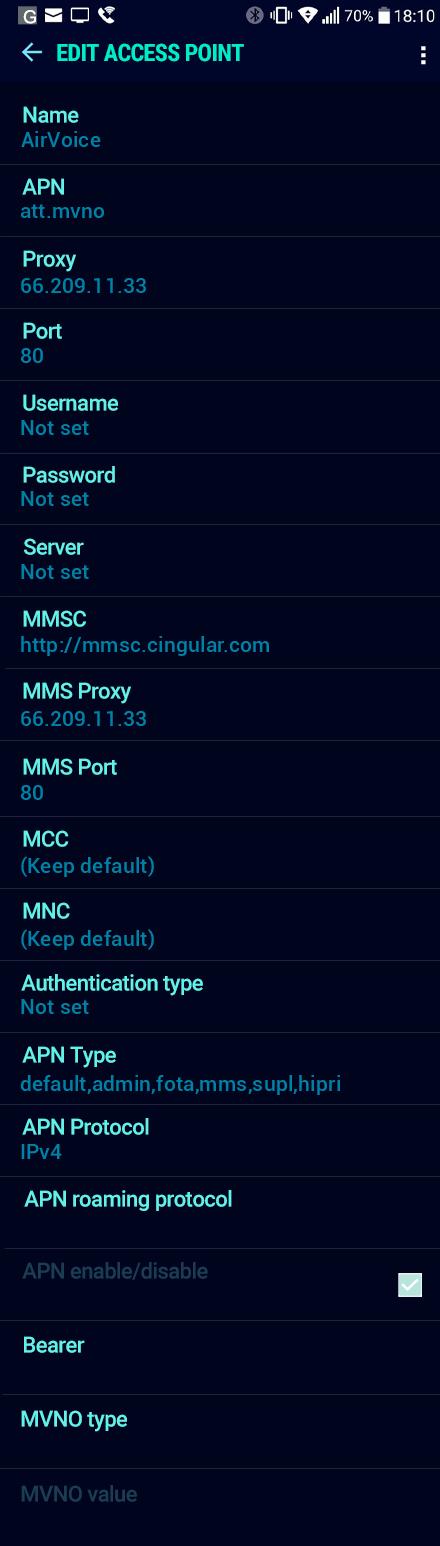 AirVoice  APN settings for Android Nougat screenshot