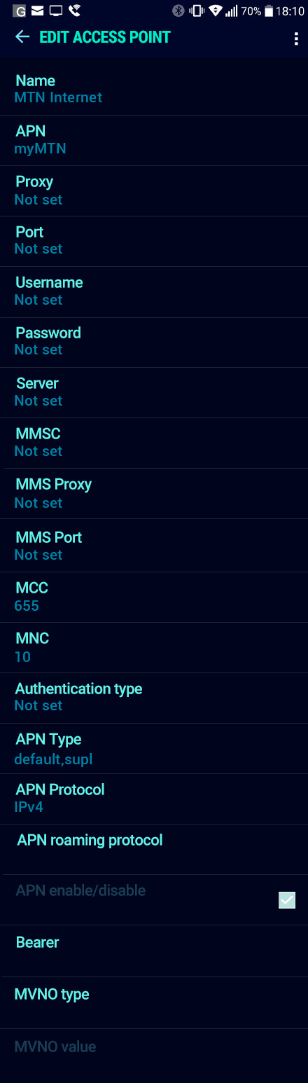 MTN Internet APN settings for Android Nougat screenshot