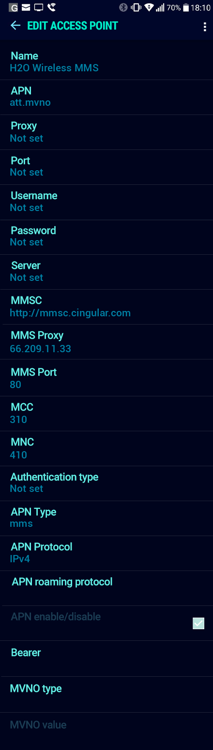 H2O Wireless MMS APN settings for Android Nougat screenshot